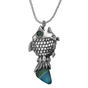 Rafael Jewelry Silver Fisher's Fish Pendant with Eilat Stone and Emerald