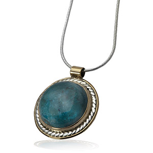 Rafael Jewelry Silver Round Pendant with Gold-fill and Eilat Stone