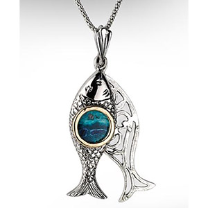 Rafael Jewelry, Silver Two-piece Kinetic Fish Necklace with Eilat Stone