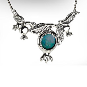 Rafael Jewelry Silver Pomegranate Bough Eilat Stone Necklace