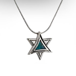 Rafael Jewelry Silver & Eilat Stone 3-Dimensional Star of David Necklace