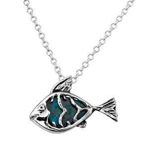 Rafael Jewelry Silver Eilat Stone Fish Necklace