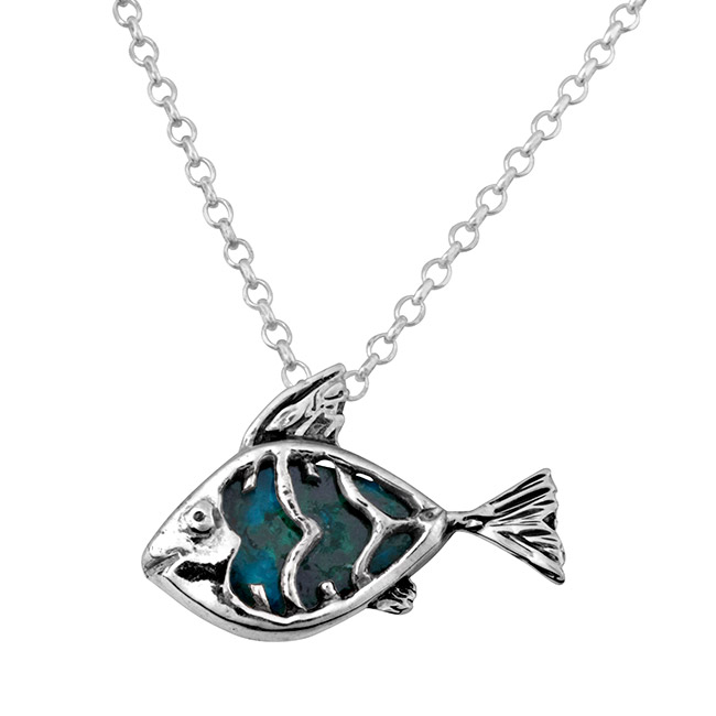 Sterling silver eilat stone fish necklace meaningful sterling silver fish pendant with eilat stone the fish is patterned after the st peters fish the fish found in the sea of galilee aloadofball Image collections