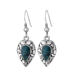 Rafael Jewelry Silver Rugged Heart Eilat Stone Earrings