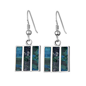 Rafael Jewelry Three Pieces Eilat Stone Silver Square Earrings