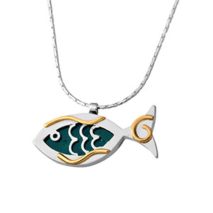 Rafael Jewelry Silver & Gold-filled Eilat Stone Fish Necklace