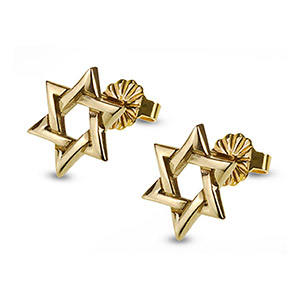 Rafael Jewelry 14kt Gold Star of David Stud Earrings