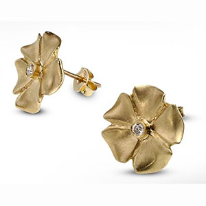 Rafael Jewelry 14kt Gold and Diamond Flower Earrings