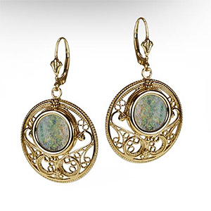 Rafael Jewelry Round Filigree Gold Earrings with Roman Glass