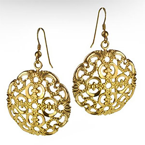 Rafael Jewelry 14kt Gold Round Ornamental Earrings