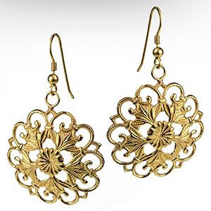Rafael Jewelry 14K Gold Flower Ornamental Moroccan Earrings