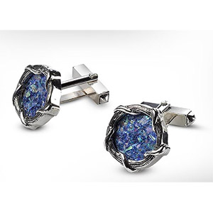 Rafael Jewelry Silver Entwined Ropes Roman Glass Cufflinks