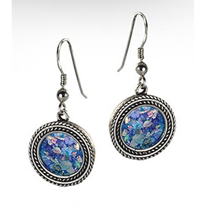 Rafael Jewelry Silver Roman Glass Twisted Cord Round Earrings