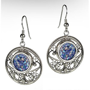 Rafael Jewelry Silver Round Filigree and Roman Glass Earrings