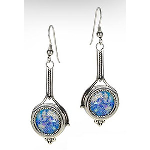 Rafael Jewelry Silver 'Racket' Roman Glass Earrings