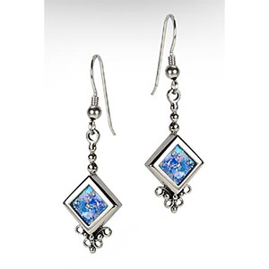 Rafael Jewelry Roman Glass and Silver Square Shaped Earrings