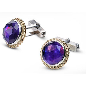 Rafael Jewelry Amethysts Cufflinks in Silver and 9kt Gold