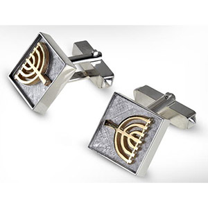Rafael Jewelry Silver Cufflinks with 9 kt gold Menorah Decoration