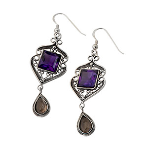Rafael Jewelry Dangling Silver Filigree Earrings with Gemstones