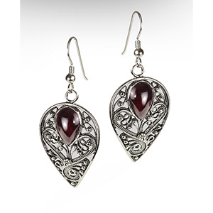 Rafael Jewelry Silver Filigree and Garnet Inverted Drop Earrings