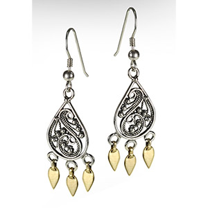 Rafael Jewelry Silver Filigree Earrings with 9kt Gold