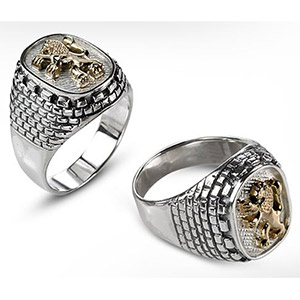 Rafael Jewelry Silver and Gold Jerusalem Emblem Men's Ring