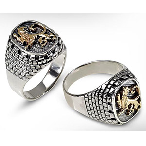 Rafael Jewelry Gold and Silver Roaring Lion Jerusalem Walls Men's Ring