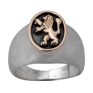 Rafael Jewelry Gold Lion of Judah Silver Men's Ring