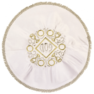 God and Pesach White Satin Matzah Cover