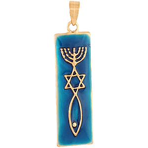 Gold Filled Grafted In Pendant with Blue Enamel