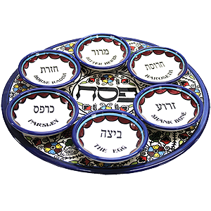Armenian Ceramic Seder Plate with small Bowls