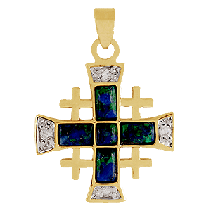 Jerusalem Cross. Gold filled with Eilat stone and Zircons