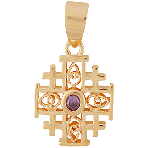 Gold-filled Purple Amethyst Jerusalem Cross Pendant