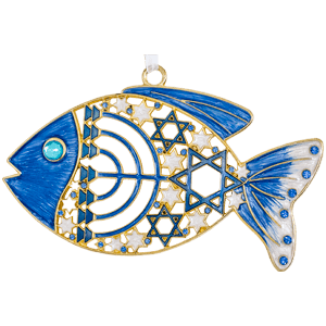 Blue Enameled Messianic Fish Wall Hanging