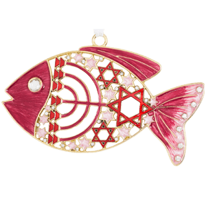 Pink Enameled Messianic Fish Wall Hanging