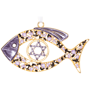 Purple Enameled Floral Messianic Fish Wall Hanging