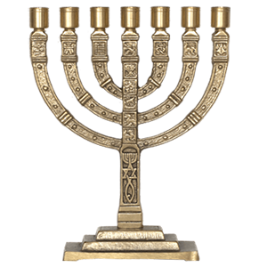 Brass Curved Branch Messianic Grafted In Menorah