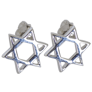 Sterling Silver Star of David Stud Earrings