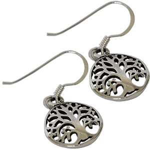 Sterling Silver Circle Tree of Life Earrings