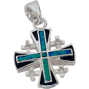 Silver Jerusalem Cross with Blue Opal