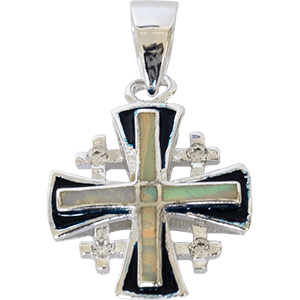Silver Jerusalem Cross with White Opal