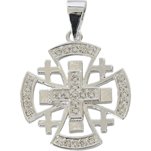 Silver Jerusalem Cross with Clear Crystals