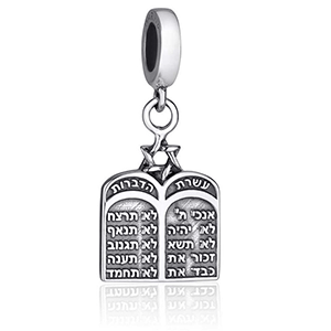 10 Commandments Hanging Charm, Sterling Silver