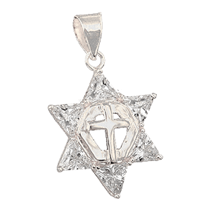 Gold-filled Messianic Star Pendant with Clear Crystals