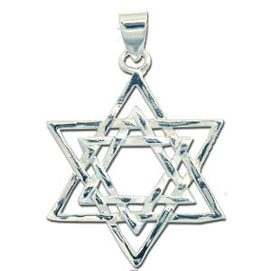 White Gold Filled Double Star of David Pendant