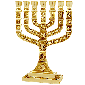 Gold Plated 12 Tribes of Israel Menorah
