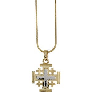 Jerusalem Cross Necklace. Rhodium.