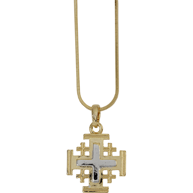 Jerusalem cross in yellow rhodium a white rhodium accent jerusalem cross necklace gold and silver colored aloadofball Images