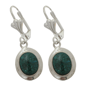 Silver Rimmed Eilat Stone Earrings