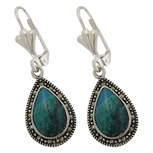 Silver with Marcasite Teardrop Eilat Stone Earrings